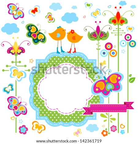 fashion birds card with colorful flowers and butterflies - stock vector