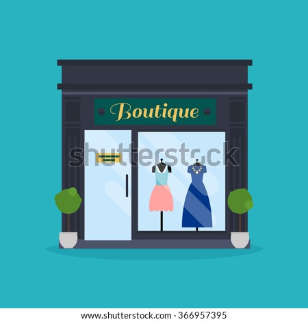 Fashion boutique facade. Clothes shop. Ideal for market business web publications and graphic design. Flat style vector illustration. - stock vector