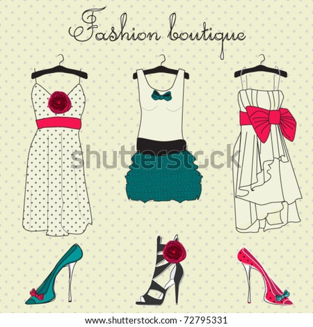 Fashion boutique set, stylized doodles - stock vector