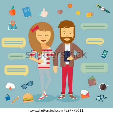 Fashion boy and girl. Hipster couple. People use smartphone, write message and sms, reading social networks, use camera, looking news, video and picture. Vector illustration, flat modern style. - stock vector