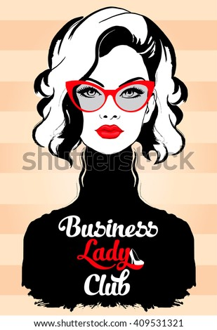 Fashion Business Woman in glasses and red lips - stock vector