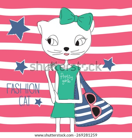 fashion cat vector illustration - stock vector
