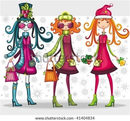 Fashion Christmas girls set - stock vector