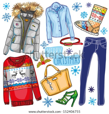 fashion Christmas illustration - stock vector