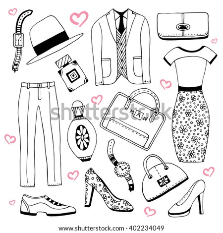 Fashion clothes and accessories set. Summer fashion doodles collection. Vector sketch icons for man and woman beauty design  - stock vector