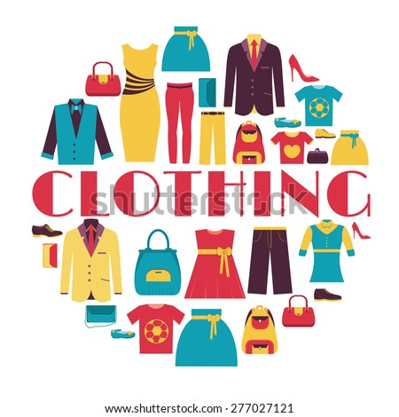 Fashion clothing circle infographics template concept. Icons design for your product or design, web and mobile applications. Vector flat with long shadow illustration on blue background - stock vector