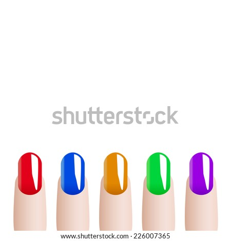 Fashion colours nail polish  - stock vector