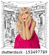 Fashion concept. Vector surprised blonde in pink dress do not know what to wear. All layers well organized and easy to edit - stock photo