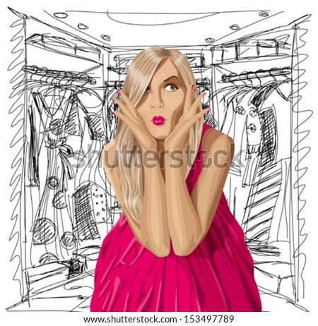 Fashion concept. Vector surprised blonde in pink dress do not know what to wear. All layers well organized and easy to edit - stock vector