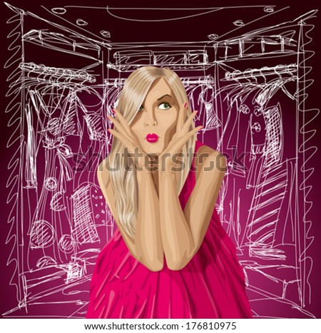 Fashion concept. Vector surprised blonde in pink dress doesn't know what to wear.  - stock vector