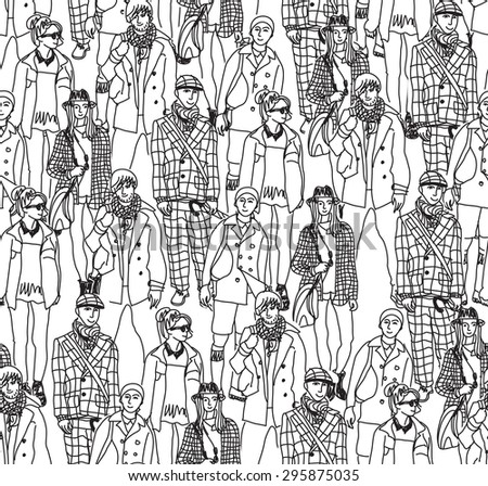 Fashion crowd people  seamless pattern. Happy people in big crowd. Seamless pattern. Monochrome vector illustration. - stock vector