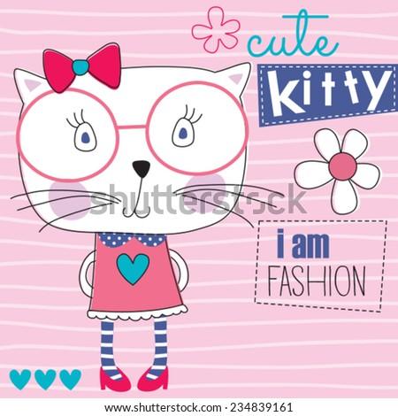 fashion cute cat kitty vector illustration - stock vector