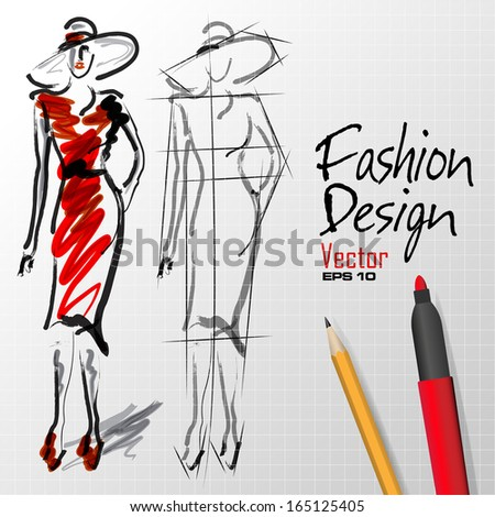 fashion design sketches silhouette in vector format - stock vector