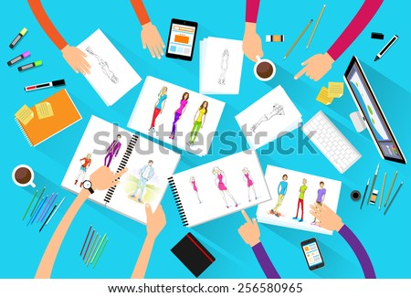 fashion designer creative team looking models photograph flat design top angle view vector illustration - stock vector