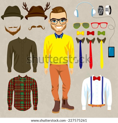Fashion dress up doll man with hipster clothes, accessories, hats and mustaches to combine - stock vector