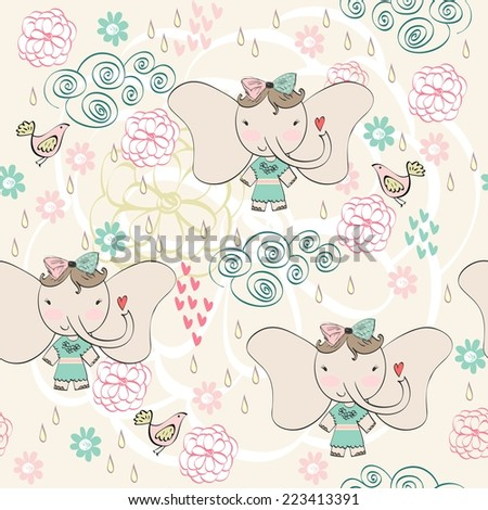 Fashion elephant girl. Vector hand drawn illustration - stock vector