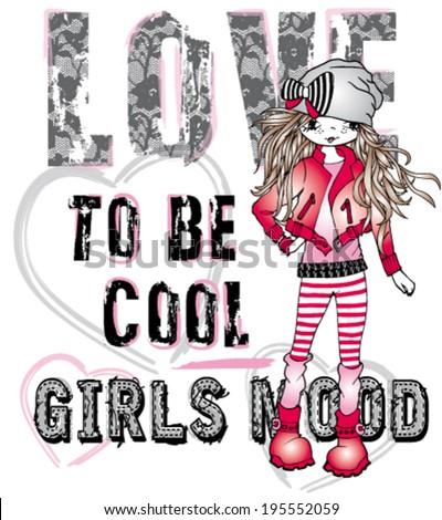 Fashion Emo Rocker Punk girl - stock vector