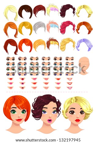 Fashion female avatars. 18 hairstyles, 18 eyes, 18 mouths, 1 head, for multiple combinations. In this image, some previews. Vector file, isolated objects. - stock vector