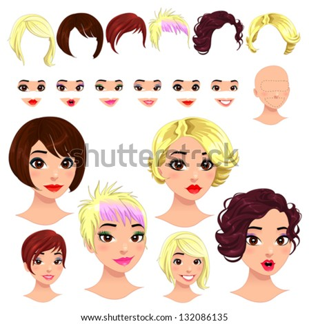 Fashion female avatars. 6 hairstyles, 6 eyes, 6 mouths, 1 head, for multiple combinations. In this image, some previews. Vector file, isolated objects. - stock vector