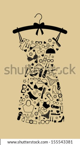 Fashion female dress from accessories. Vector - stock vector