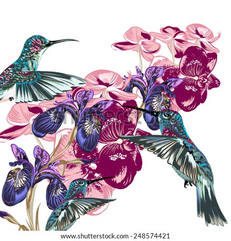 Fashion flower pattern with hummingbirds and orchids - stock vector