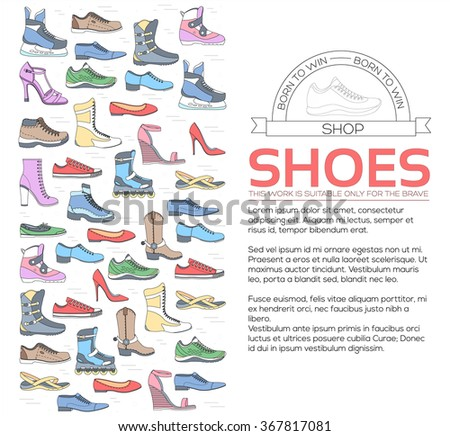 Fashion footwear in sport, stylish, modern, classic, elegant, leather, young, trend style concept. Flat thin lines shoe set icons elements concept background vector illustration - stock vector