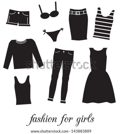 Fashion for girls. Collection of icons isolated on white background. Vector illustration. - stock vector