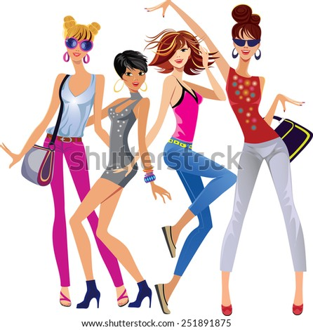 fashion funny girl on white background - stock vector