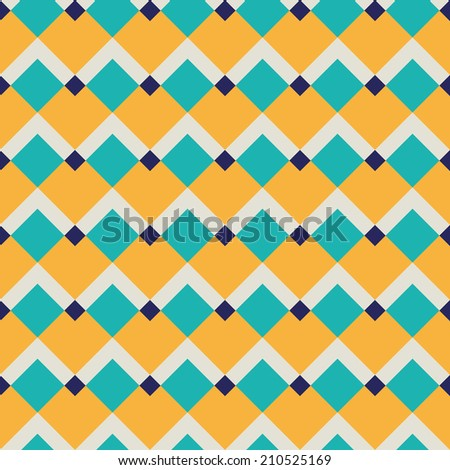 Fashion geometric pattern in retro colors, seamless vector background. For textile, cloth. - stock vector