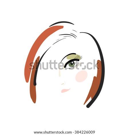 Fashion girl. Girl's head. Redhead. Vector illustration. - stock vector
