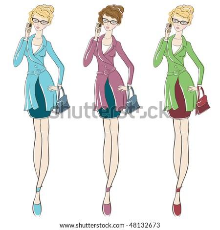 fashion girl illustration - stock vector