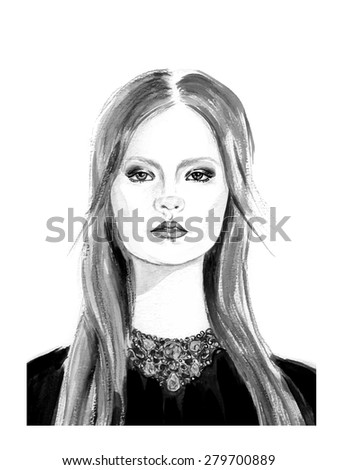 Fashion girl in black and white color - stock vector