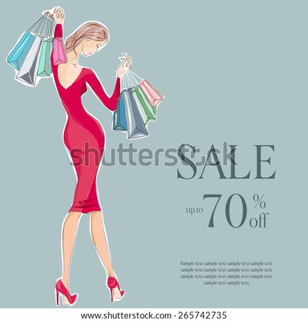 Fashion girl in red dress sale shopping hand drawn illustration Background  - stock vector