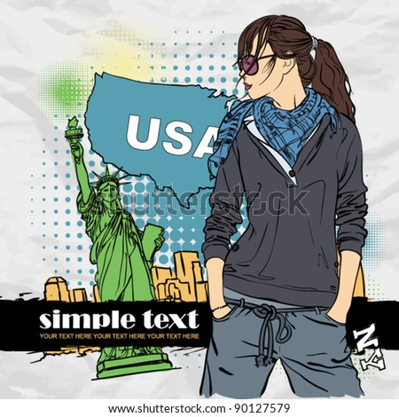 Fashion girl in sketch-style on a usa-background. Vector illustration. Place for your text. - stock vector
