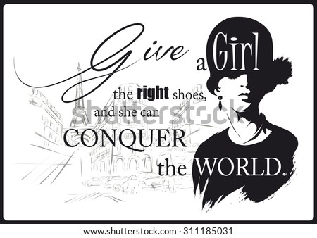 Fashion girl in sketch-style with fashionable quote. Vector illustration. - stock vector