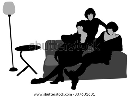 Fashion girl on a sofa on a white background - stock vector
