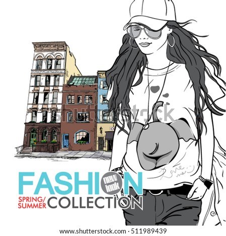 Fashion girl on a street background. Vector. Sketch style.