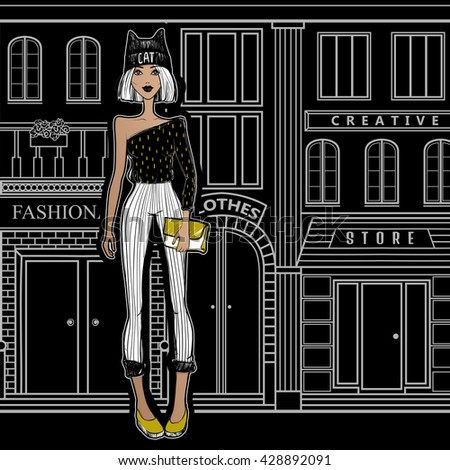 Fashion girl on the streets of Paris, walking to the shops. The girl from New York City goes shopping. Beautiful model. Cartoon illustration. Sketch girl. Black and white. - stock vector