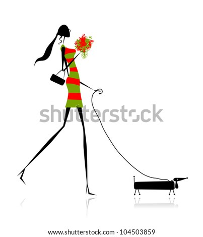 Fashion girl silhouette walking with dog - stock vector