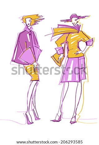 Fashion girl. Sketch.  - stock vector