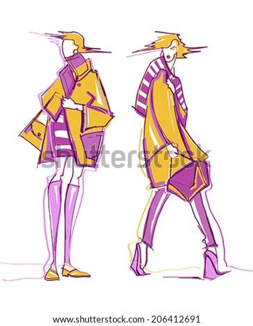 Fashion girl. Sketch.  - stock vector