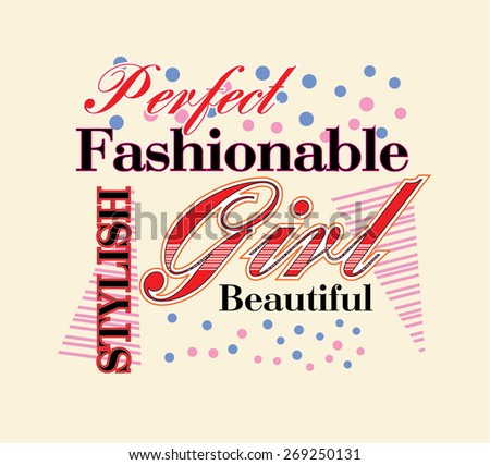 Fashion Girl text design - stock vector