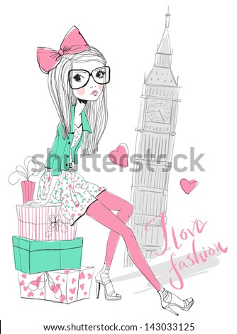 Fashion Girl travels the world - stock vector