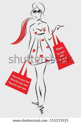 Fashion girl with bags - vector  - stock vector