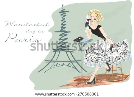 Fashion girl  with glass of red wine sitting near Eiffel Tower and happy with her Paris shopping vector illustration - stock vector
