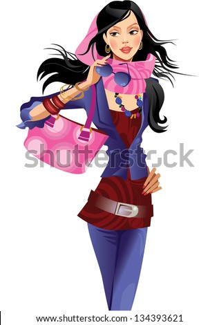 fashion girl  with pink bag - stock vector