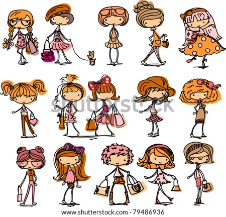 Fashion girls - stock vector