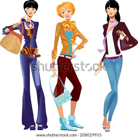 fashion girls in trousers - stock vector