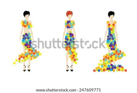 Fashion girls. Models. Vector illustration. - stock vector