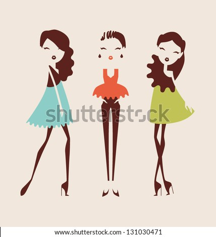 fashion girls posing isolated on light background vector illustration eps 10 - stock vector
